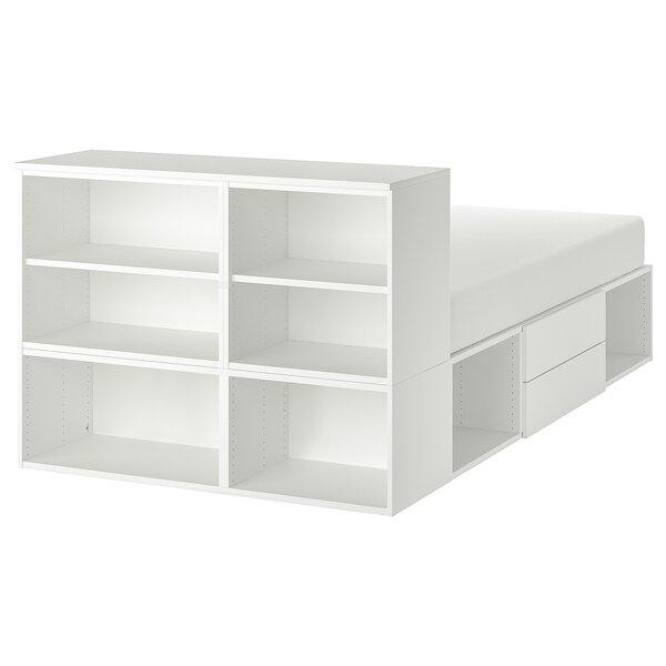 PLATSA                                Bettgestell mit 2 Schubladen, weiß, Fonnes, 140x200x103 cm