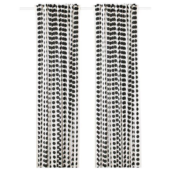 KLARASTINA                                Gardinenpaar, weiß/schwarz, 145x300 cm