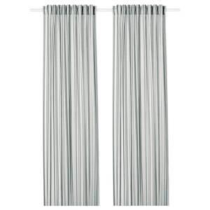 PRAKTKLOCKA                                Gardinenpaar, grau, gestreift, 145x300 cm