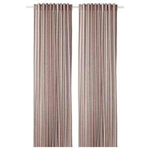 BERGSKRABBA                                Gardinenpaar, grau, rot gestreift, 145x300 cm