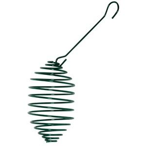 Meisenknödelhalter spiralförmig aus Metall in grün mit Haken