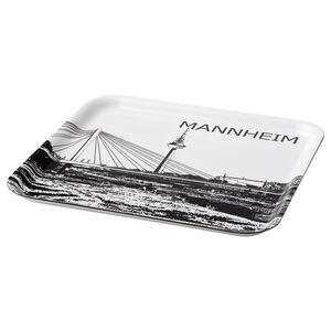 FRUKTKULTUR                                Tablett, weiß/schwarz, Stadtsilhouette Mannheim, 33x33 cm