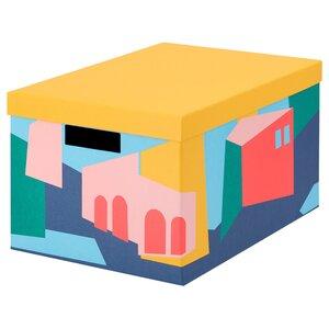 TJENA                                Kasten mit Deckel, gelb, 25x35x20 cm