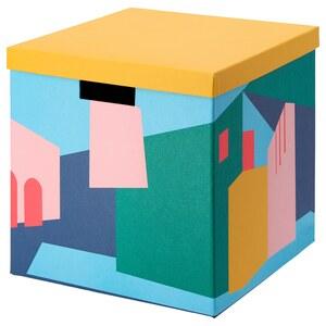 TJENA                                Kasten mit Deckel, gelb, 30x30x30 cm