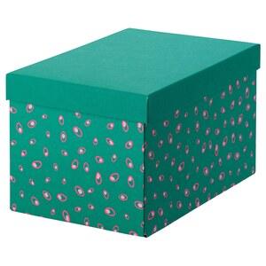 TJENA                                Kasten mit Deckel, grün Punkte, 18x25x15 cm