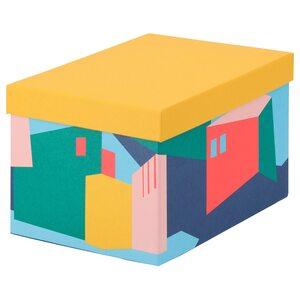 TJENA                                Kasten mit Deckel, gelb, 18x25x15 cm