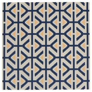 ÖVERALLT                                Teppich flach gewebt, drinnen/draußen naturfarben, blau, 200x200 cm