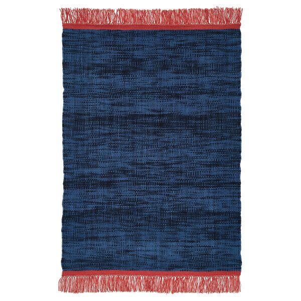 VÄRMER                                Teppich flach gewebt, blau, 140x200 cm