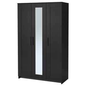 BRIMNES                                Kleiderschrank 3-türig, schwarz, 117x190 cm