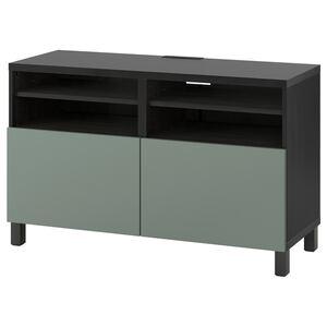 BESTÅ                                TV-Bank mit Türen, schwarzbraun, Notviken/Stubbarp graugrün, 120x42x74 cm