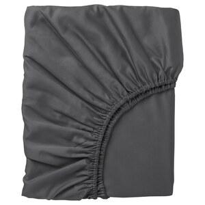 NATTJASMIN                                Spannbettlaken, dunkelgrau, 90x200 cm