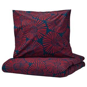 STJÄRNTULPAN                                Bettwäscheset, 2-teilig, dunkelblau, rot, 155x220/80x80 cm
