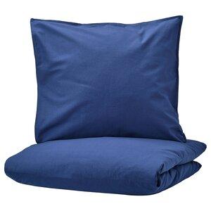 ÄNGSLILJA                                Bettwäscheset, 2-teilig, dunkelblau, 155x220/80x80 cm