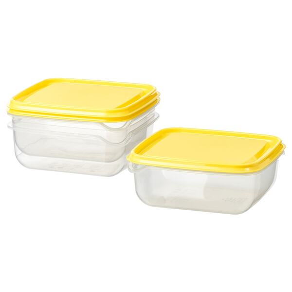 PRUTA                                Dose mit Deckel, transparent, gelb, 0.6 l