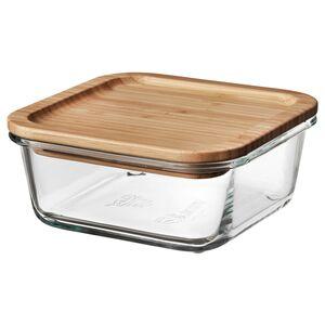 IKEA 365+                                Vorratsbehälter mit Deckel, quadratisch Glas, Glas Bambus, 600 ml