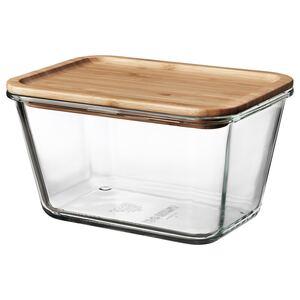 IKEA 365+                                Vorratsbehälter mit Deckel, rechteckig Glas, Glas Bambus, 1.8 l