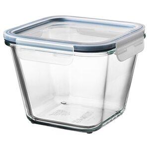 IKEA 365+                                Vorratsbehälter mit Deckel, quadratisch Glas, Glas Kunststoff, 1.2 l