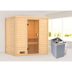 """Karibu              Sauna """"Selena"""", 9 kW, naturbelassen, integrierte Steuerung"""