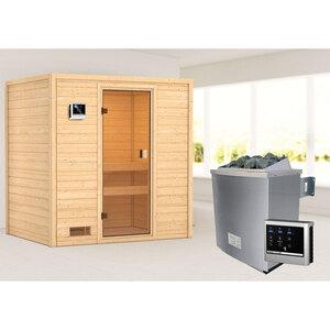 """Karibu              Sauna """"Selena"""", 9 kW, naturbelassen, externe Steuerung"""