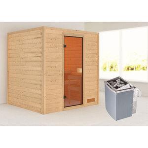 """Karibu              Sauna """"Adelina"""", naturbelassen, integrierte Steuerung"""