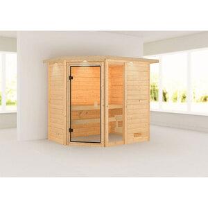 "Karibu              Sauna ""Jada"", mit Kranz, naturbelassen, ohne Ofen"