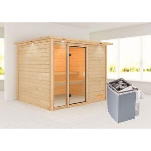 "Karibu              Sauna ""Kiana"", mit Kranz, naturbelassen, integrierte Steuerung"
