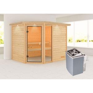 """Karibu              Sauna """"Lola"""", mit Kranz, naturbelassen, integrierte Steuerung"""