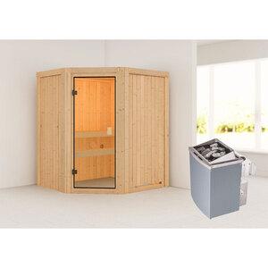 "Karibu              Sauna ""Faurin"", naturbelassen, integrierte Steuerung"