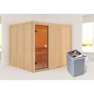 """Karibu              Sauna """"Nybro """", naturbelassen, integrierte Steuerung"""