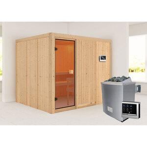 """Karibu              Sauna """"Nybro """", naturbelassen, externe Steuerung"""
