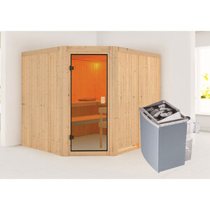 "Karibu              Sauna ""Horna "", naturbelassen, integrierte Steuerung"
