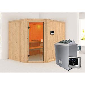 "Karibu              Sauna ""Horna "", naturbelassen, externe Steuerung"