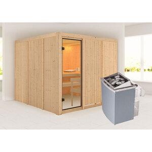 """Karibu              Sauna """"Arvika """", naturbelassen, integrierte Steuerung"""