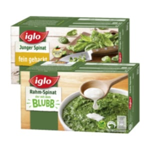 Iglo Rahm-Spinat, Junger Spinat, Würzspinat, Blubb Sticks oder Blattspinat Minis