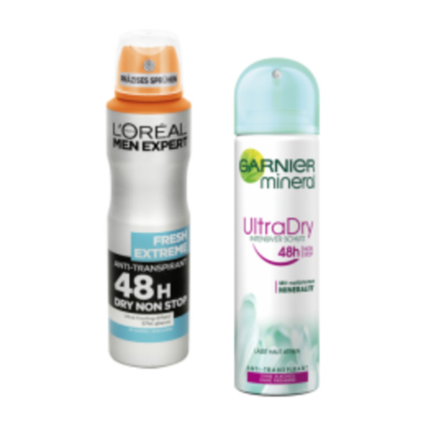 Garnier mineral Deo Spray, Roll-On oder L´Oréal Men Expert Deo Spray