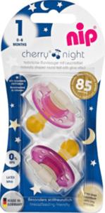 Nip Schnuller Cherry Night aus Latex, Größe 1, 0-6 Monate, lila/violett