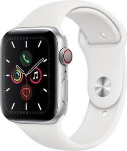 Apple Watch Series 5 (44mm) GPS+4G mit Sportarmband silber/weiß