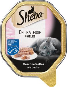 Sheba Delikatesse in Gelee Geschnetzeltes mit Lachs Katzenfutter nass 85 g