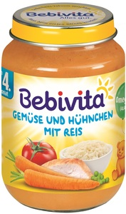 Bebivita Gemüse und Hühnchen mit Reis nach dem 4. Monat 190 g