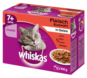 Whiskas 7+ Fleischauswahl in Gelee Katzenfutter nass Multipack 12x 100 g