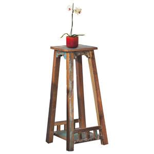 Carryhome BLUMENTISCH Holz Altholz massiv, Mehrfarbig