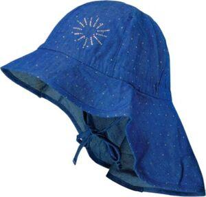 Sonnenhut mit Nackenschutz zum Binden blau Gr. 51 Mädchen Kleinkinder