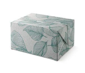 Ordnungskiste mit variabel faltbarem Deckel, flach, grau mit Blätterprint