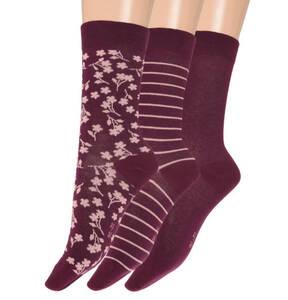 emotions Classic             Socken, 3er-Pack, Streifen, Floral, uni