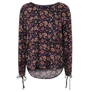 TOM TAILOR             Blusenshirt, florales Muster, verlängerter Rücken, Schleifen