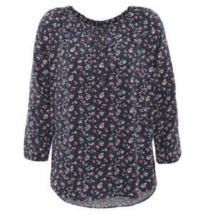 TOM TAILOR             Blusenshirt, florales Muster, elastischer Saum, seitlicher Schlitz