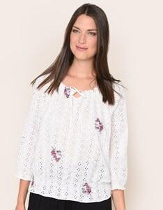 My Own - Bluse mit Lochstickerei und Blumenranken aus reiner Baumwolle