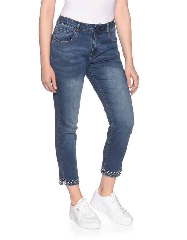 My Own - 7/8 Jeans mit leichtem Crasheffekt und Perlensaum