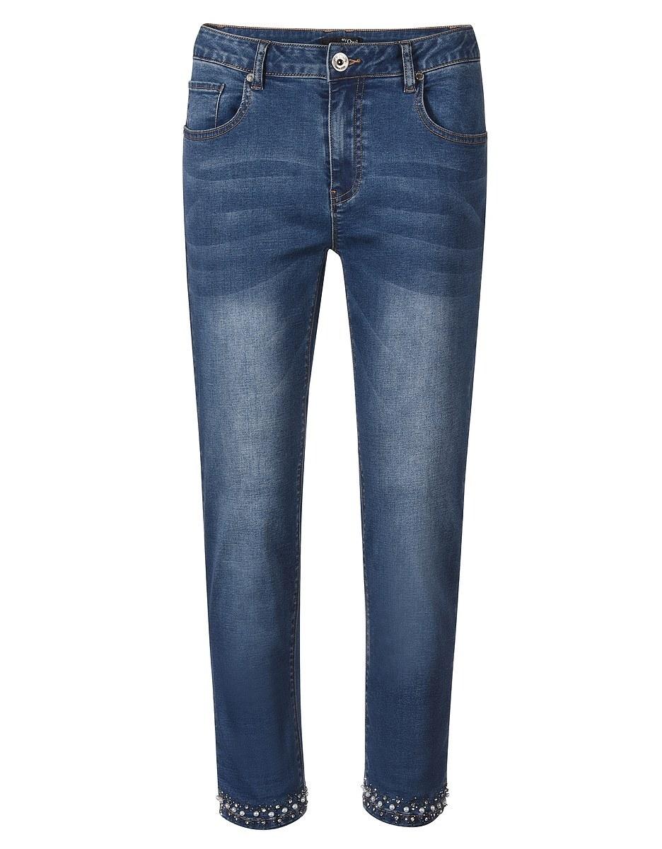Bild 3 von My Own - 7/8 Jeans mit leichtem Crasheffekt und Perlensaum