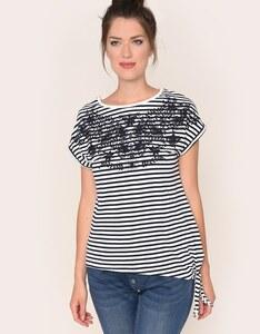 Via Cortesa - Jersey-Shirt mit Streifen und Knoten